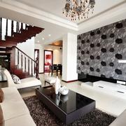 现代风格装修设计客厅全景