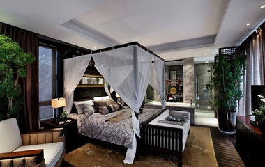 112平中式样板间欣赏卧室效果