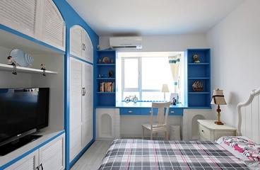 89平白色地中海三居欣赏卧室