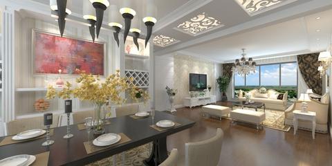 112平白色简欧三居室欣赏餐厅灯具