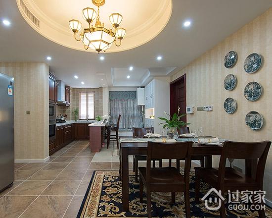 139平米新房全屋美式装修实景 开放式厨房双层吧台最显大气