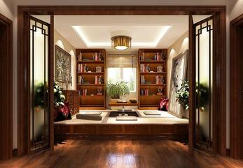 130平美式四居室欣赏书房书架