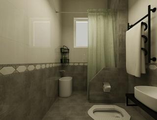 淡雅出彩简约两居室欣赏卫生间窗帘