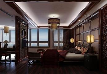咖啡色中式住宅欣赏卧室陈设
