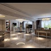 简欧风格住宅装修效果图设计客厅全景