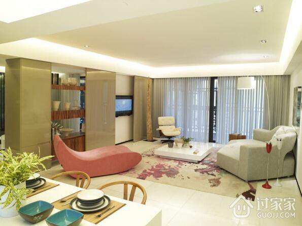 93平简约柔和三居室欣赏客厅窗帘