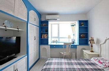 蓝白地中海两居室欣赏卧室