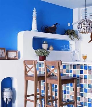蓝色地中海住宅设计欣赏厨房吧台