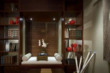 雅致中式三居室案例欣赏书房书架