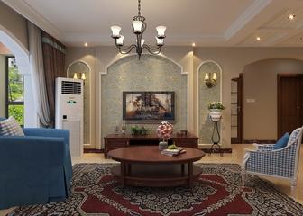 79平惬意美式住宅欣赏客厅背景墙设计