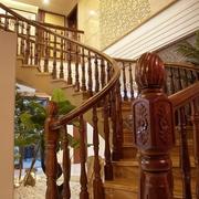 中式风木质扶手楼梯效果图