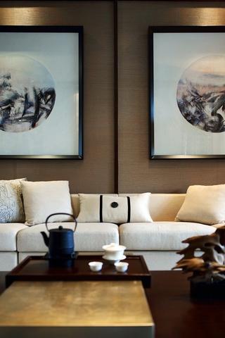 新中式客厅沙发背景墙效果图 优雅古典