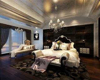 130平奢华欧式风住宅欣赏卧室吊顶设计