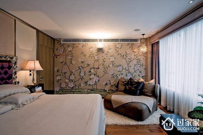 浓郁新中式三居室欣赏卧室背景墙