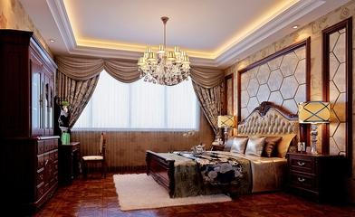 简欧奢华四居室欣赏卧室窗帘