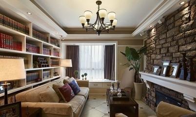 88平美式两居室案例欣赏客厅书架