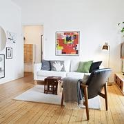 白色北欧小两居住宅欣赏客厅挂画