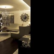 现代风格装修卧室背景墙设计客厅全景