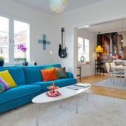 现代清新复式沙发背景墙