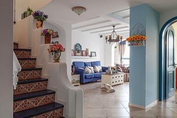 125平蓝白地中海住宅欣赏楼梯间