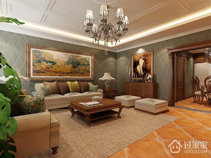 高贵大气家居 新中式客厅背景墙装修