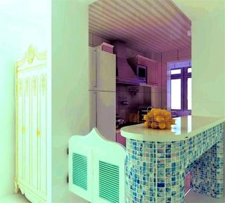 白色浪漫地中海住宅欣赏厨房吧台