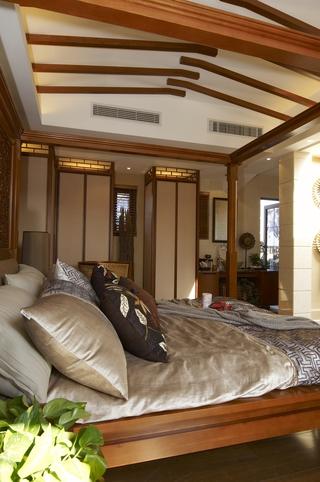 东南亚风格效果图卧室床品