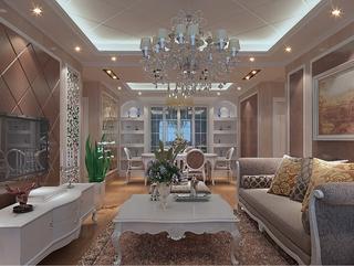 112平欧式风三居室欣赏客厅背景墙