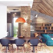 古朴与现代结合的阁楼欣赏餐厅