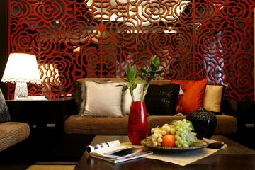 红色镂空雕花背景墙效果图