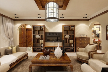 77平简约温馨家居设计欣赏客厅书架