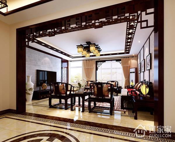 复古三居室 新中式客厅吊顶装修图