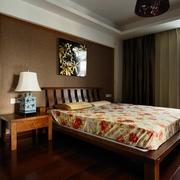 简单风格卧室床背景墙效果图