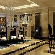 130平奢华欧式风住宅欣赏餐厅餐桌设计