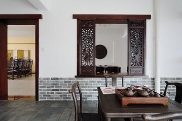 中式家居茶室隔断墙效果图