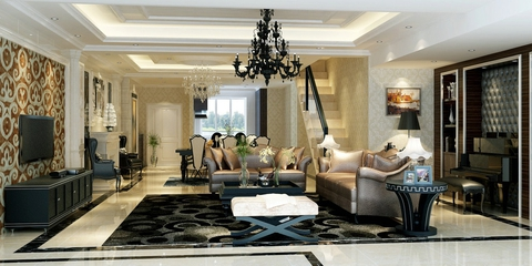 130平奢华欧式风住宅欣赏客厅电视柜