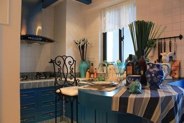 89平地中海样板房欣赏厨房吧台