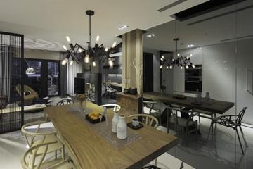 现代墨染空间效果图欣赏餐厅陈设