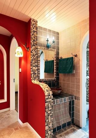 87平地中海三居室欣赏卫生间隔断设计