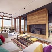 木色客厅背景墙装修 多彩的家居生活