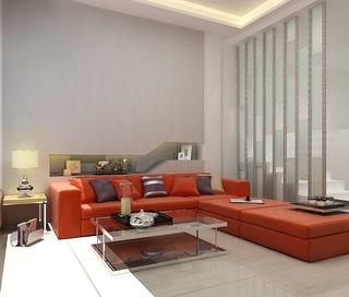 现代客厅红色沙发摆放图 时尚简约家居设计