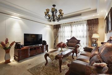 客厅电视柜装修效果图 棕木色的美