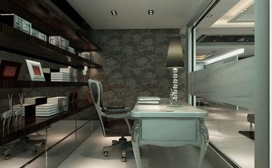 新古典灰雅三居室欣赏书房书架设计