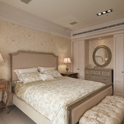 美式卧室床摆放效果图 温馨三口之家