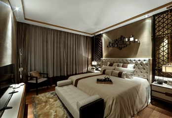 奢华中式样板房欣赏卧室窗帘