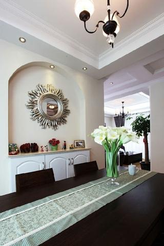 79平白色美式住宅欣赏餐厅背景墙