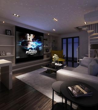 105平现代三居室案例欣赏客厅书架
