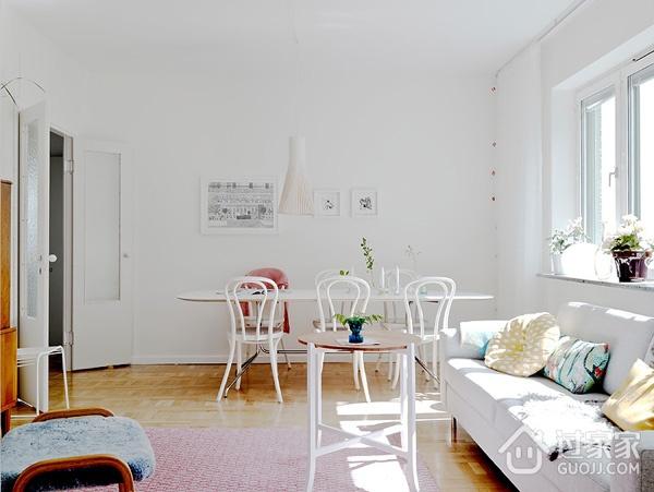 白色北欧两居室案例欣赏