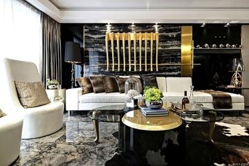 140平新古典黑金住宅欣赏客厅