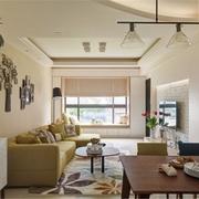 清新客厅吊顶装修效果图 舒适田园家居